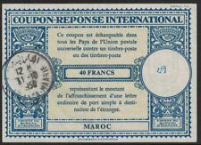 MOROCCO, INTERNATIONAL REPLY COUPON, 40 FRANCS, USED CASABLANCA - MAARIE, 1950.