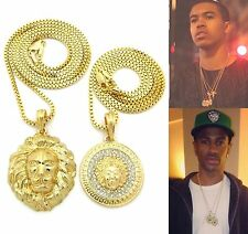 MENS ICED OUT GOLD MICRO LION HEAD & GREEK PENDANT BOX CHAIN NECKLACES SET