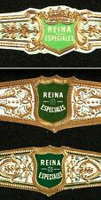 499 & 500 AzC-3 VITOLAS Antiguas-3 OldsCigars Bands-Marca REINA ESPECIALES