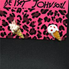 White Enamel Cute Ice Cream Cones Mini Betsey Johnson Women Stand Earrings