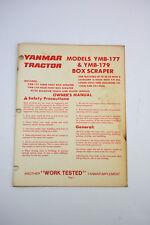 Yanmar Models YMB-177 YMB-179 Box Scraper Owner's Manual Tractor Box Blade