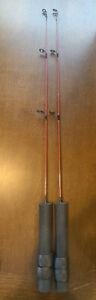 "2 Pieces Apache Tomahawk 24"" Medium Ice Fishing Rods Red"