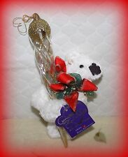 "*New* Annette Funicello 6"" Icicle Plush Teddy Bear W/ 9 1/4"" Glass Icicle Le"