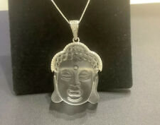 """Healing Rock Crystal ,diamonds,Sterling Silver ,  Buddha Necklace, 18""""inch"""