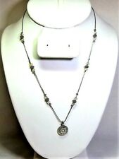 Silver Tone Necklace With Silver And Clear Beads And Aurora Borealis in Pendant
