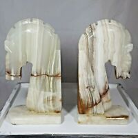 Pair of Vintage Mexican MCM Carved ALABASTER STONE Horse Head Bookend Statues