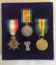 WWI medal trio + silver Armstrong Vickers ARP badge framed (ourcodeRP)