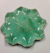"""DeForest Of California Star Candy Trinket Dish Plate Hand Painted Green 8 3/4"""""""