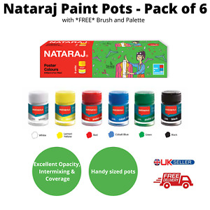 Nataraj 6 Piece Poster Paint Set along with *FREE* Brush and Palette