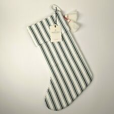 Hearth & Hand Magnolia Christmas Stocking - Green and White Striped with Tassels