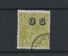 1929 Australia KGV OS Issue 4d yellow-olive sm. multi wmk SG O126 CTO