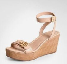 7b70b2af9  285 Tory Burch Elina Mid Wedge Sandal Nude Patent Leather Ankle Strap SZ  11 B