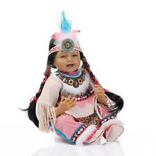 22''Reborn Black Skin Smile Baby Girl Doll Toy Soft Silicone Toddler Indian Doll