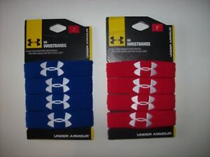 "Under Armour Wristbands 1"" Knit Red White Blue Logo 2pk Men Women Unisex NIP"
