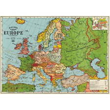 Map of Europe World Travel Vintage Style Political Map Poster Ephemera