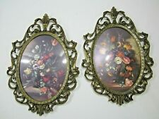 """Victorian Style Floral Oval Convex Glass Metal Frame Made in Italy 10"""" x 7"""""""