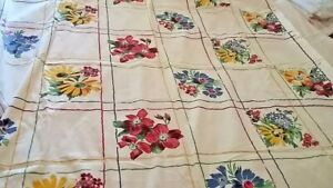 Vintage Hand Print Tablecloth 54 x 67 Inches Red Yellow Blue Flowers Great Shape