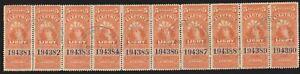 Canadian Revenue van Dam FE16 $5 Electric Light Inspection Stamp used strip (10)