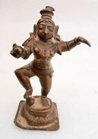 Antique Old Hand Carved Copper Hindu God Krishna Standing Statue Rich Patina
