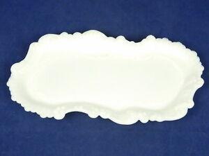 "Vintage Milk Glass Vanity Bath Desk Trinket Jewelry Tray Ornate Scalloped 8x4"""