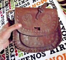 Ancien sac en cuir  25 cm x 22 cm x 7 cm  style western à restaurer vintage 1970