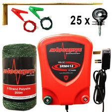 Mains Electric Fence Energiser SRM412 1.2J Green Polywire Insulators Starter Kit