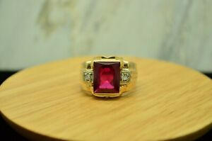 10K YELLOW GOLD PINK RUBY RING BAND W/ DIAMOND ACCENTS SIZE 9.75 #X10-1974