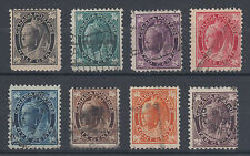 Canada Sc 66-73 used. 1897-98 Queen Victoria Leaf issue, cplt set, F+