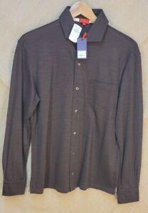 NWT 575$ Mens Isaia Long Sleeve 100% Wool Brown Shirt