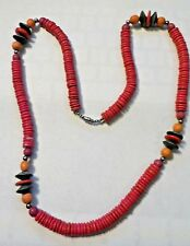 """Vintage 30"""" Colorful Wooden Beads Necklace"""