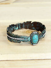 Feather Cuff Bracelet Hinge Turquoise Stone Antiqued Silver NEW