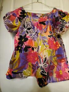 Koi Kathy Peterson Scrub Top-Sz 2X-Floral Print w/gathered raglan sleeves