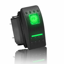 1pc Momentary Green Square Lighted Rocker Switch Dpdt 20a 12vdc Illuminated 7pin