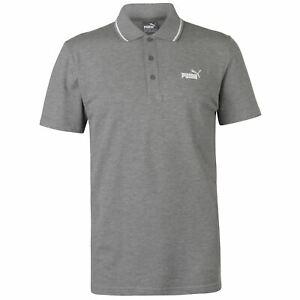 PUMA No1 Logo Pique Polo Shirt Mens Grey Short Sleeve Collared Top UK Size S New