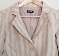 KOOKAI Cream / Beige Gold Grey Striped Crop L/S Work Evening Jacket Size 40/10