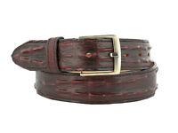 Black Cherry Western Cowboy Leather Crocodile Alligator Tail Belt Silver Buckle