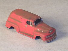 HO 1948 Orange Rusted Out Ford Panel Truck.