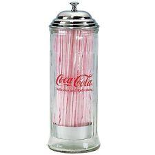 TableCraft Coca-Cola / Coke Old Fashioned Glass Soda Straw Dispenser / Jar