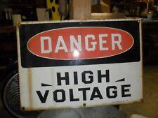 "DANGER HIGH VOLTAGE PORCELAIN SIGN 14"" X 20""ORIGINAL BY READY MADE SIGN CO."