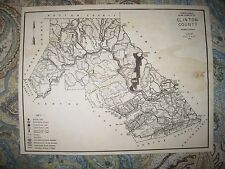 ANTIQUE 1961 CLINTON COUNTY PENNSYLVANIA HUNTING FISHING MAP HIGHWAY