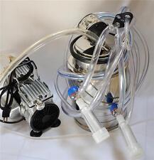 Complete Goat Bucket Milker Machine .5 HP OILLESS vacuum pump SS Bucket Pulsator