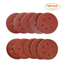 """SPTA 100pcs 6"""" 150mm 6 Hole Sanding Discs Sander Pad Sandpaper 40-2000# Mix Grit"""