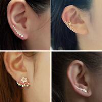 Fashion Women Lady Elegant 1Pair Crystal Rhinestone Ear Stud Clip On Earrings