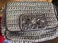 BRIGHTON ANJU JEWELED SEQUINED SMALL CROCHETED STRAW SHOULDER BAG + CHAIN STRAP