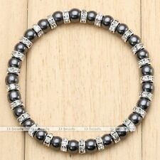 6mm Black Hematite Crystal Spacer Bead Healing Powerful Stretchy Bangle Bracelet