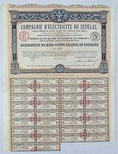 Sénégal Epoque Coloniale & Paris II ème - Rare Cie d'Electricité du Sénégal 1923