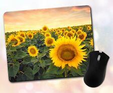 Flower Mouse Pad • Field Sunflowers Clouds Cute Nature Decor Desk Accessory