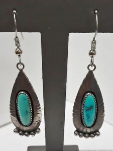 Native American Signed E.M. White Sterling Silver Turquoise Vintage Earrings