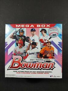 2021 MLB Bowman Baseball Mega Box - Plus 2 Exclusive 5-card Chrome Packs.