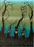 ACEO Original Acrylic Spooky Whimsical Animated Trees Pumpkins Fun Art HYMES